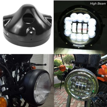 7 Inch Motorcycle 54W BlackChrome Round H4 LED Headlight For Harley Davidson 7 Projector Forward Headlamp With Housing Bucket Мотоцикл
