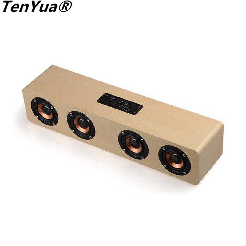 TenYua 12 W haut-parleur en bois barre de son ordinateur haut-parleur stéréo son FM lecteur Subwoofer bluetooth haut-parleur Support TF carte AUX