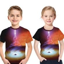 Children Clothes Cosmic Black Hole 3D Print Short Sleeve T-Shirt Einstein Kids Digital Formula TShirt Summer Boy Girl Casual Top