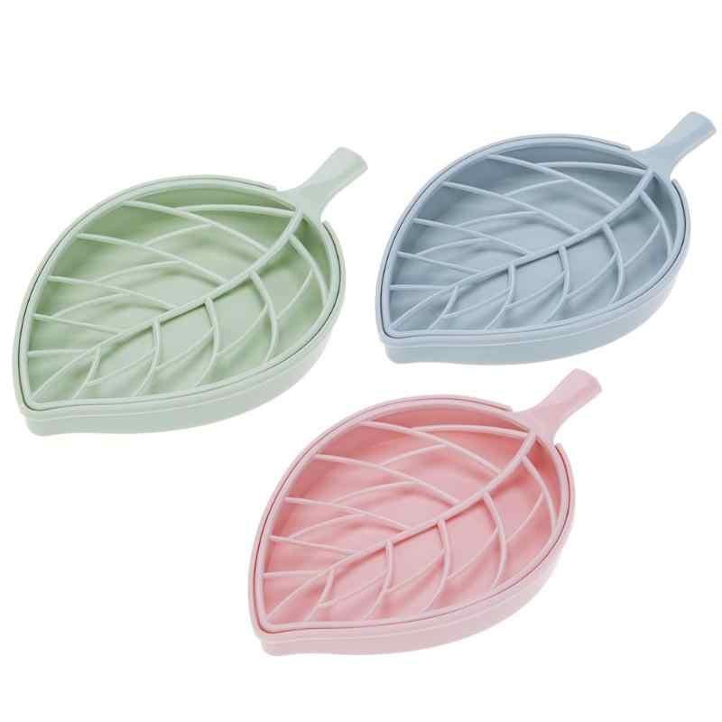 Podwójna warstwa kształt liścia spustowy pudełko na mydło pudełko na mydło pojemnik przenośny liść modelowanie mydelniczki uchwyt na akcesoria łazienkowe