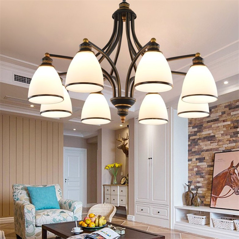 Modern American Iron Glass Chandelier Lighting Fixture for Living Room Modern Pendant LampModern American Iron Glass Chandelier Lighting Fixture for Living Room Modern Pendant Lamp