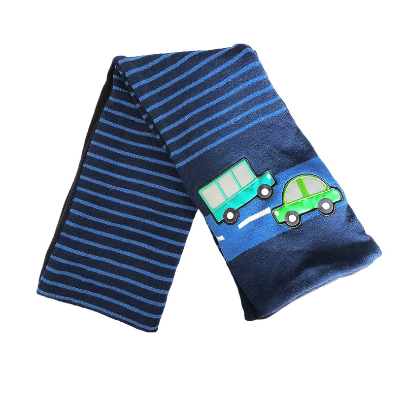 Children Kids Boys Baby  Lovely Car Printed Striped Blue Scarf Reflective Christmas New Year Winter Gift