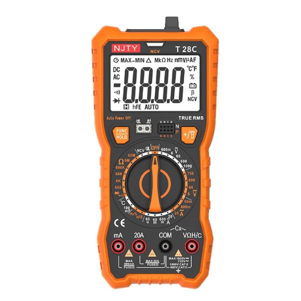 Multimetro T28C Multímetro Digital Transistor Tester Medidor de Esr Multimetre Profesional Multimetr Digitais True RMS 6000 Contagens
