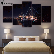 5 piece canvas art san francisco bridge city night posters wall pictures for living room painting free shipping XA1610A