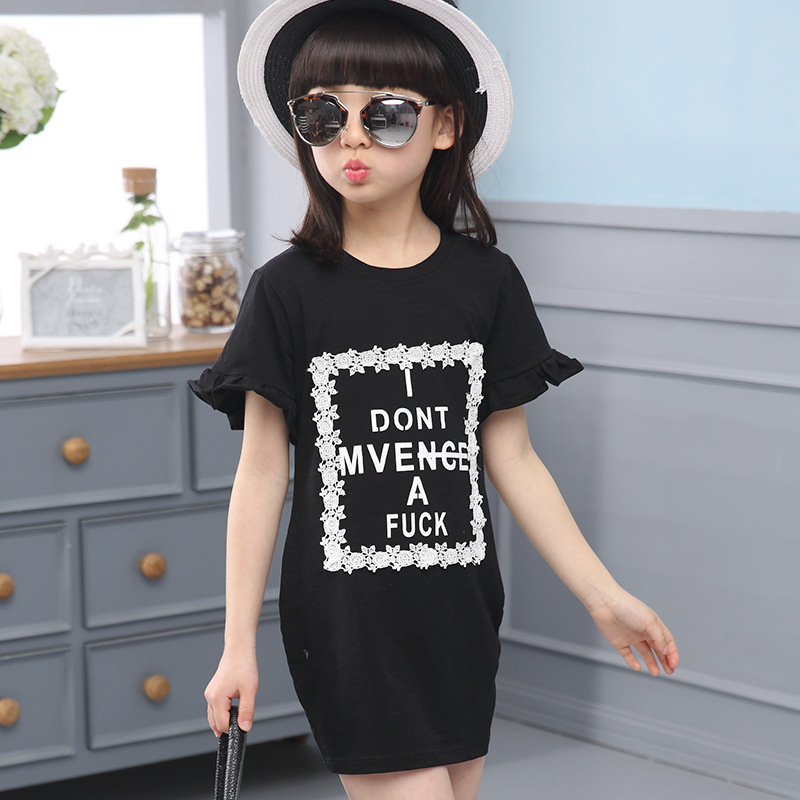 Girls T-shirt Summer New Cotton Shirt Bottoming Large Hot Children Kids Shirt Clothing White Black Letters Print