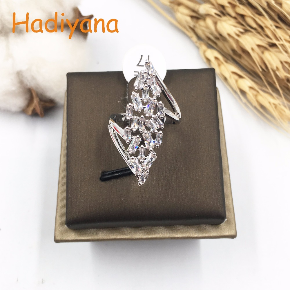 HADIYANA Classic AAA Cubic zirconia lined wavy ring brilliant trendy cute gift party accessaries CP052