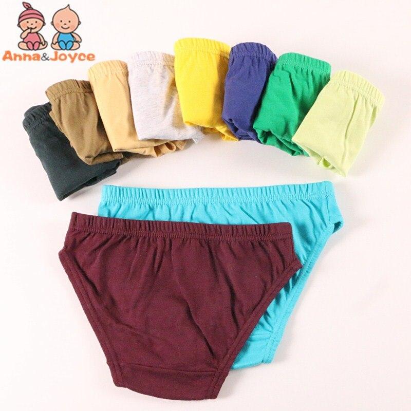 Однотонное нижнее белье для мальчиков 5 шт./лот, детские трусики, короткое нижнее белье, Комплект трусиков для 1-10 лет
