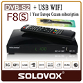 SOLOVOX F8S DVB-S2 satellite receiver +1 Pcs USB WIFI with one year Europe Cccam Cline Server Support cccam newcamd MGCAM WEB TV