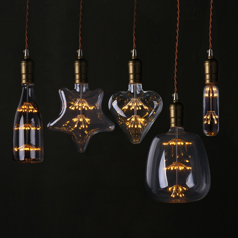 T30 LED Edison Vintage Starry Sky Lamp Heart Bottle Retro Led Firework Dimmable Bulbs For Home Christmas Decoration Club Lights