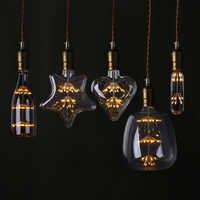 T30 LED Edison Vintage lámpara de cielo estrellado botella de corazón Retro Led fuegos artificiales bombillas regulables para el hogar Navidad decoración Club luces