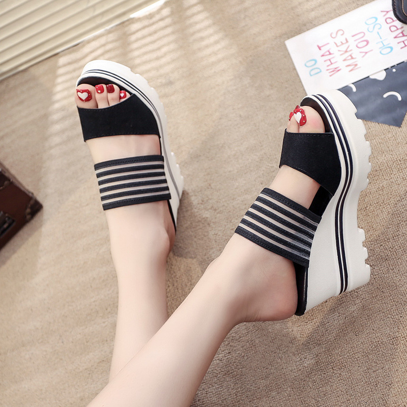 Image 4 - Women Summer Slippers Wedges Paltform Slides Female Black Height Increasing Sandals Woman Open Toes High Heel Shoes SH021804Slippers   -