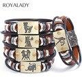 Кожаные браслеты в стиле панк Twelve с созвездиями для мужчин и женщин, повседневный винтажный уникальный браслет зодиака, модные ювелирные из...