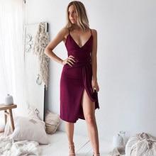 dfd061ff3 Mujer de verano Boho Maxi rodilla-longitud vestido Color rojo vino fiesta  Noche Vestidos playa