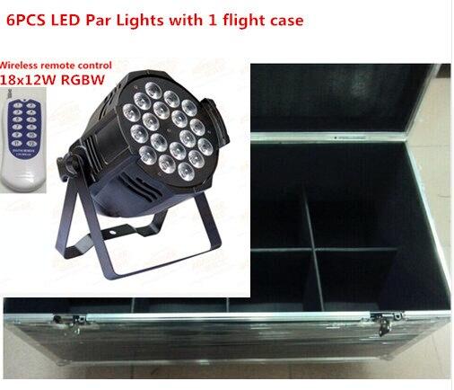 6pcs Wireless remote control 18x12W LED Par Lights with 1 flight case RGBW 4in1 LED Par Can Par64 dj  wash lighting stage light naza m v2 flight control