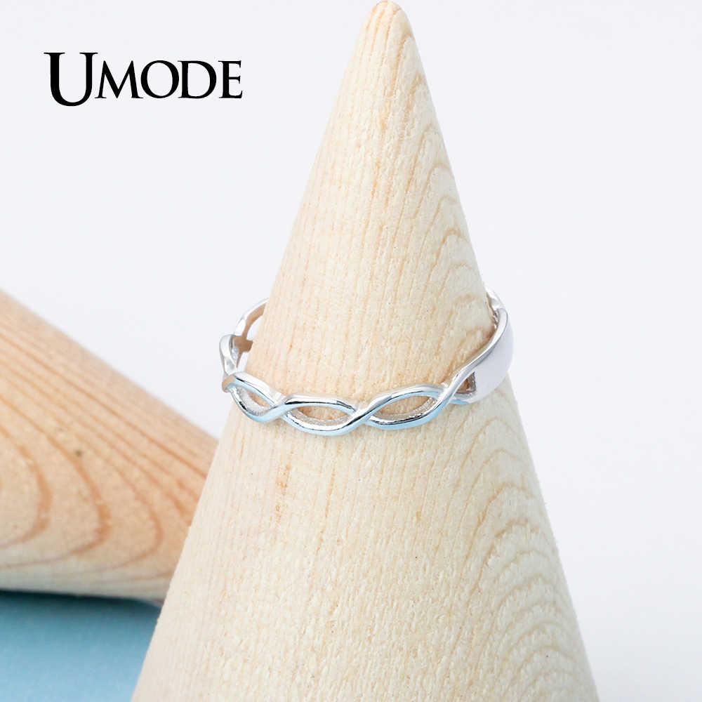 UMODE Infinity แหวน 925 เงินสเตอร์ลิงแหวนเงินผู้หญิงหญิง Hollow เกลียว Chain Cross Elegant ไขลานเครื่องประดับ ULR0469