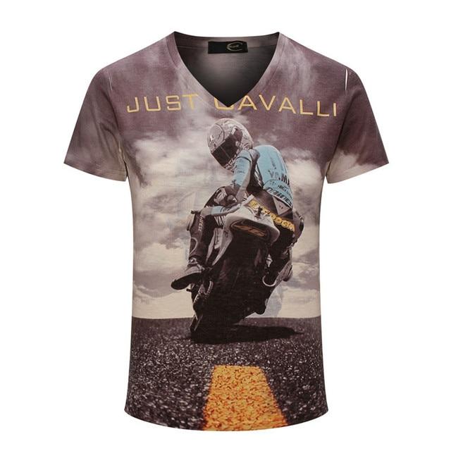 Street Fashion 2017 new design top fashion motorcycle brand men's T-shirt men Leisure short sleeve luxury retro trend
