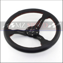 Free Shipping Car Modified Universal Steering Wheel 350mm Leather Sports Racing Roulette