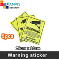 5pcs Self-stick security warning sticker, English language, cctv IP camera surveillance project mate. GANVIS CCTV Store