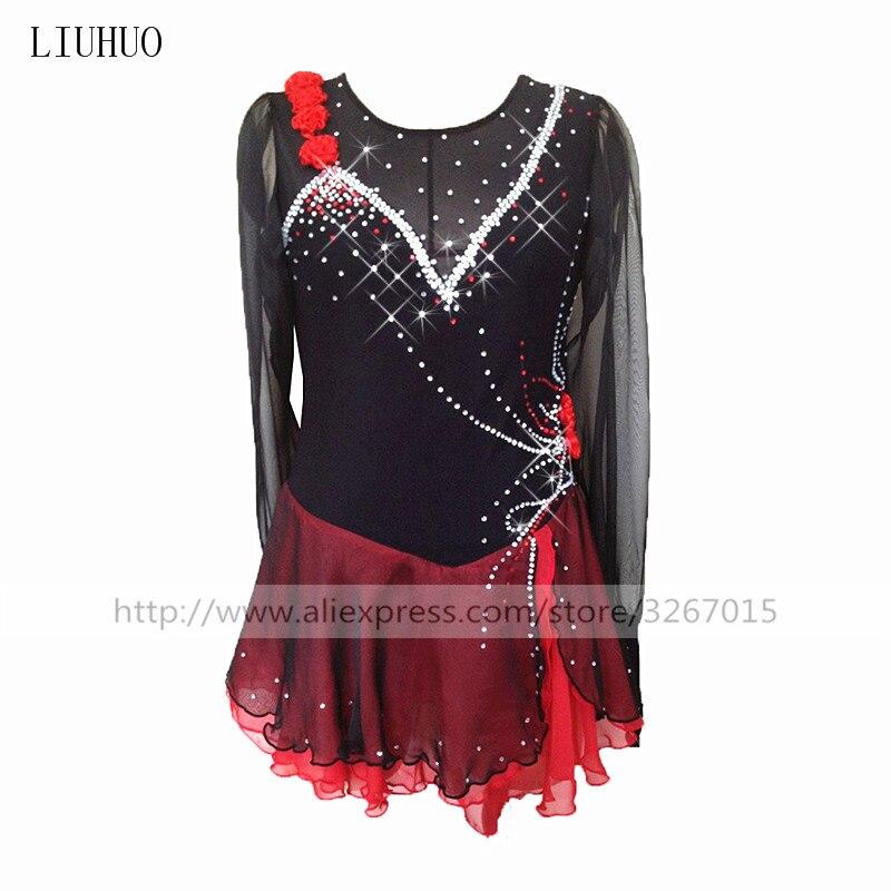 Patinage artistique Robe de Femmes Filles Robe de patinage De Glace Rouge noir Épaule taille fleur décoration À manches Longues col rond Flash
