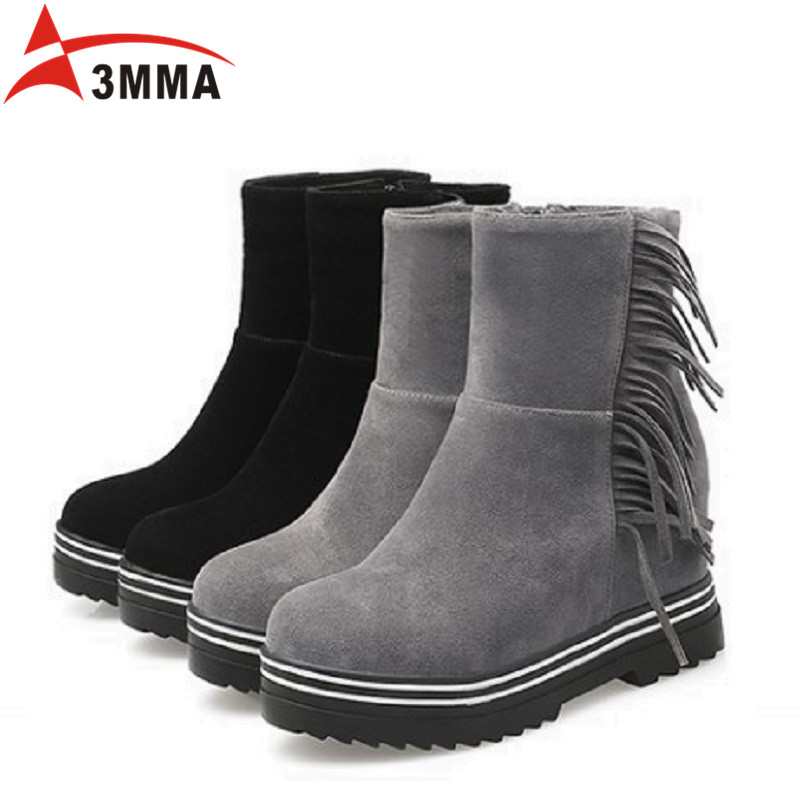 ФОТО 3MMA Solid Ankle Boots Chunky Platform Black Women Boots Spring Autumn Shoes Handmade Motorcycle Boots Women Fashion Booties