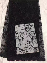 Hot sell French lace fabric quality and beautiful black Africa Nigeria's wedding dress lace fabric and beading JK08