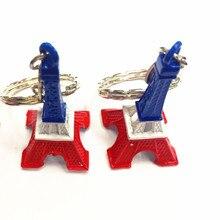 12ks / lot 3D Eiffelova věž Barevné tašky zavěsit na roli francouzského suvenýru Paříž Keychain Cute Ozdoba klíčenka (stříbro)