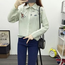 2017 Spring Japanese style fresh cartoon rabbit embroidery blouse women lapel loose full cotton long-sleeved office shirt female