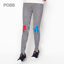PASS 2017 New Arrival Autumn Women Fashion Stripe Tight Lettern Pattern Printing Solid Casual Slim Female Leggingg Pant
