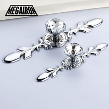 MEGAIRON Luxury Diamond Crystal Shoebox Cabinet Closet Knobs Home Door Drawer Knobs Wardrobe Pull Handle With Screws(China)