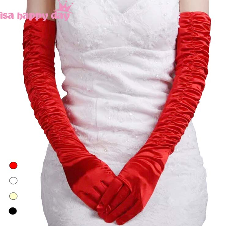 Stock Satin Elbow Length Long Brides Gloves Wedding Bridal Accessory 52cm Wedding Gloves Cosplay Christmas Party Assessories