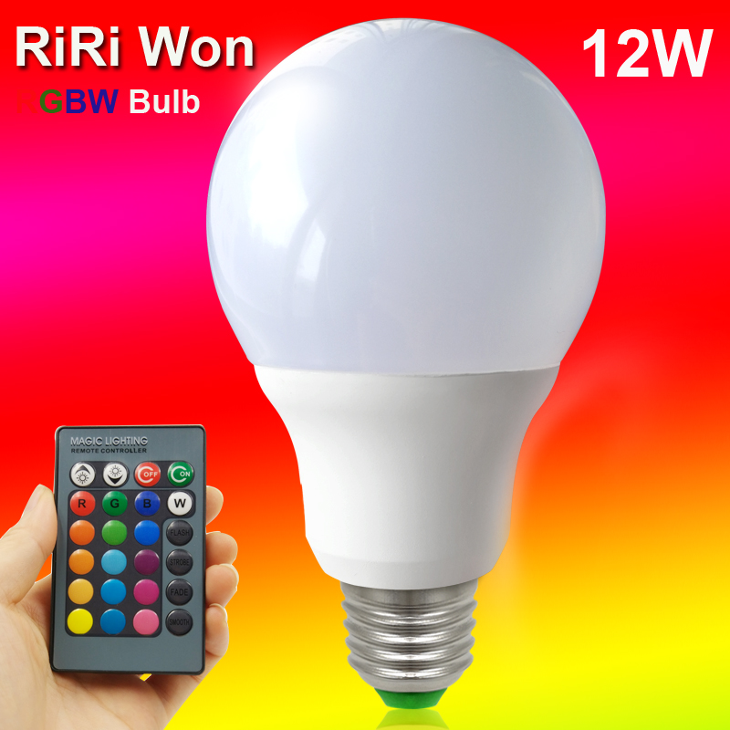 LED RGB Bulbs Lamp E27 RGB 12W LED RGB Bulb Light 110V 220V With Remote Control 16 Color Change Lampada LED Luz A80 e27 led bulb 10w rgb led bulb lamp 12 colors remote control led light for home decoration stage lighting led lamp
