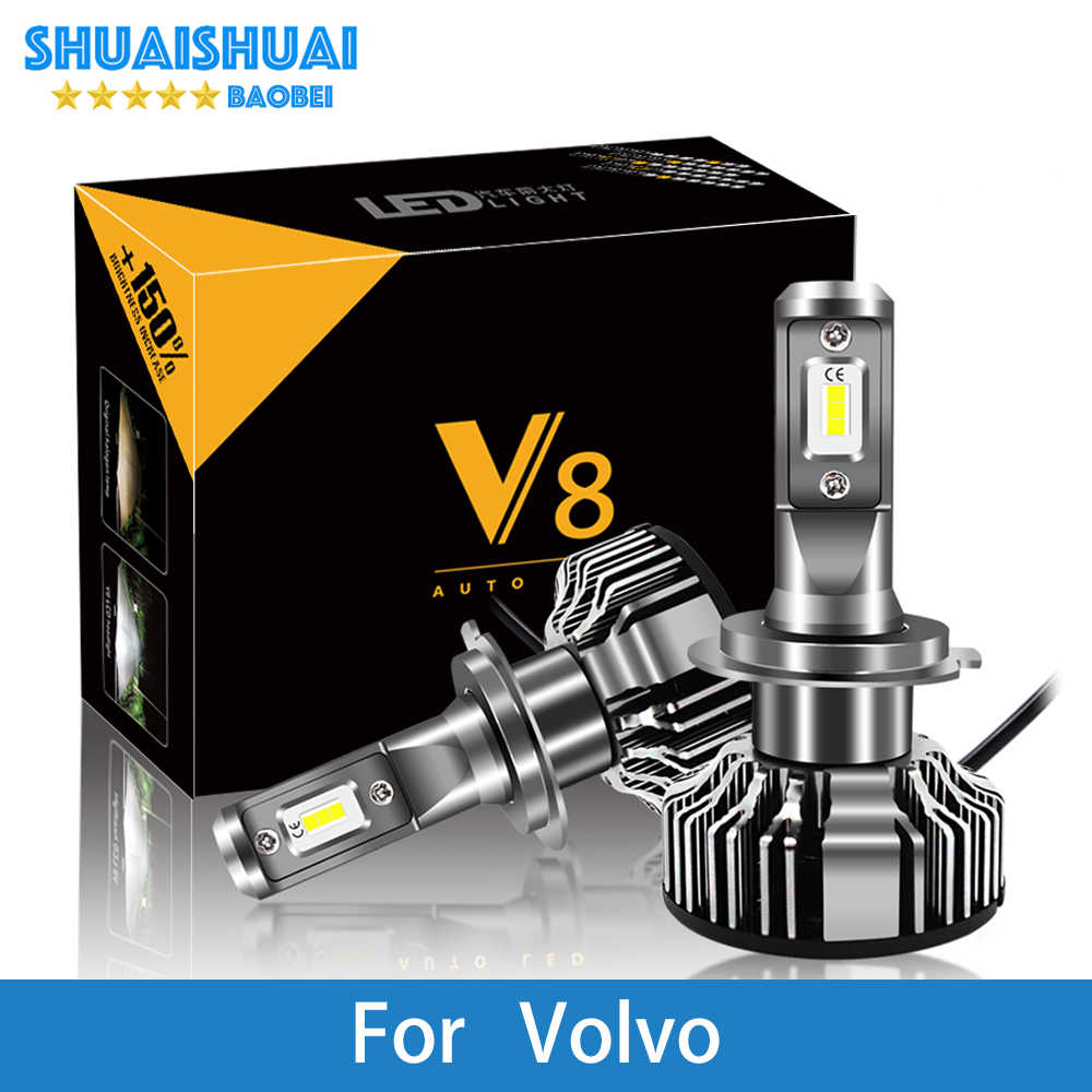 2 Pcs Car Headlight For Volvo S60 S80 V40 V70 S40 XC70 XC90 H7 LED H4 LED H1 H7 H3 9005 6500K 8000LM CSP Chips Fog Light Bulb