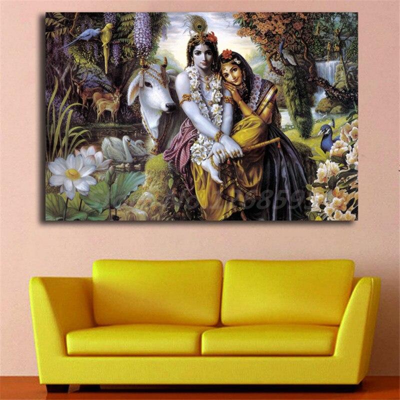 Hindu God Radha Krishna Love 2 HD Wall Art Canvas Poster and Print ...