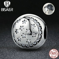 VOROCO 100 925 Sterling Silver Twinkling Night Clip Little STARS Clear CZ Charms Fit VRC Bracelet