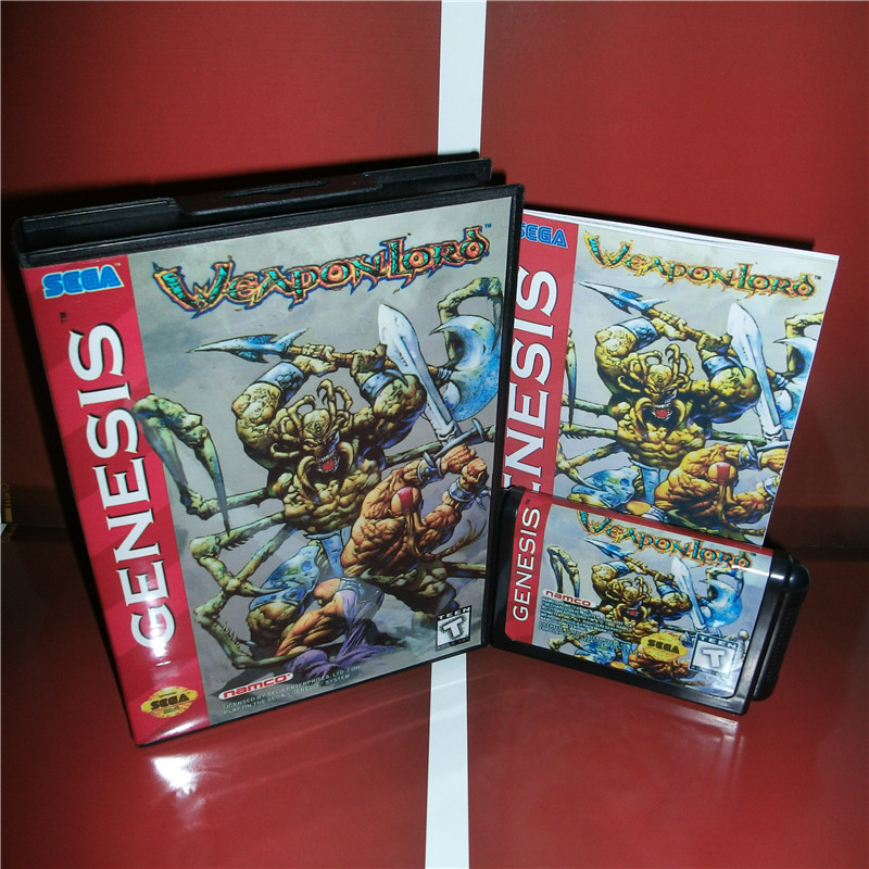 Weapon Lord US Cover with box and manual For Sega Megadrive Genesis Video Game Console 16 bit MD card