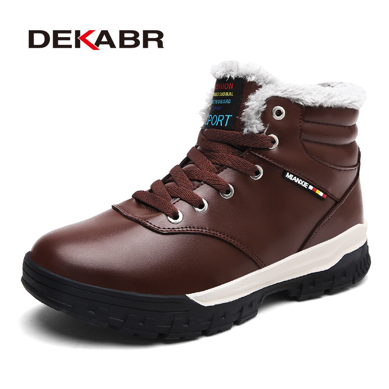 DEKABR 2018 New Men Snow Boots Handmade Sewing High Quality Pu Leather Ankle Boots Men Winter Warm Casual Shoes Plus Size 39-48