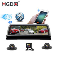HGDO New 2019 ADAS 4 Channel Car DVR Camera Video Recorder Mirror 4G 10 Media Rearview Mirror 8 Core Android Dash Cam FHD 1080P