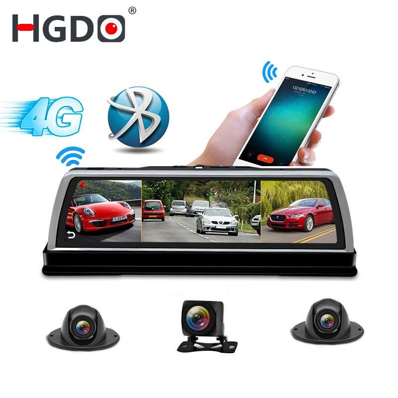 Hgdo novo 2019 adas 4 canais câmera do carro dvr gravador de vídeo espelho 4g 10