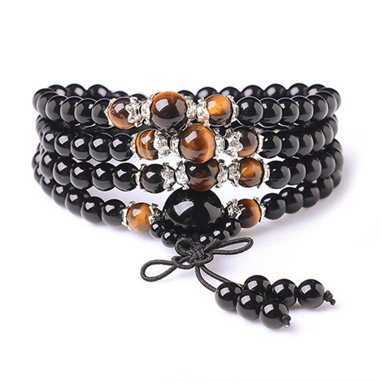 Natural Onyx Bracelet Black Buddha Onyx Stone 108 Bracelet Women Handmade Accessories,Tiger Eye multi-turn Bracelet For Women