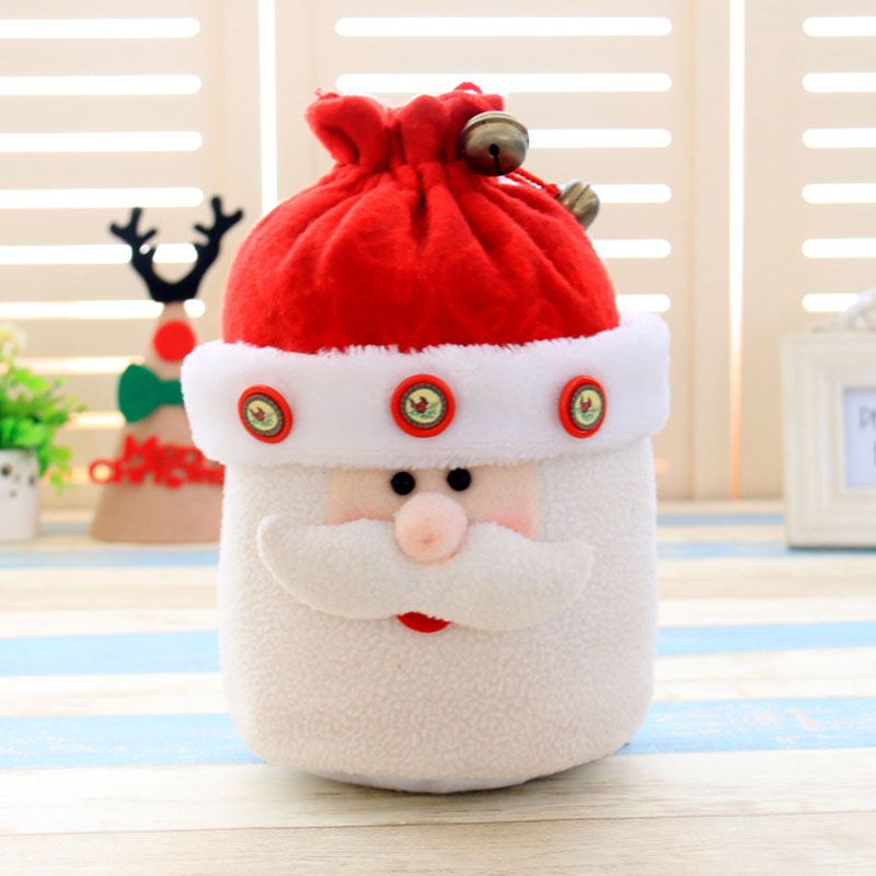 1 Pcs Cute Santa Snowman Gift Candy Drawstring Bell Apple Bag Christmas Decorati