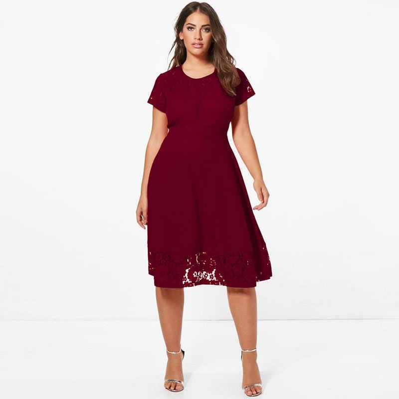 2018 summer dress elegant A-line office lace dress 5xl 6xl plus size dress  women ac0c53da11f3
