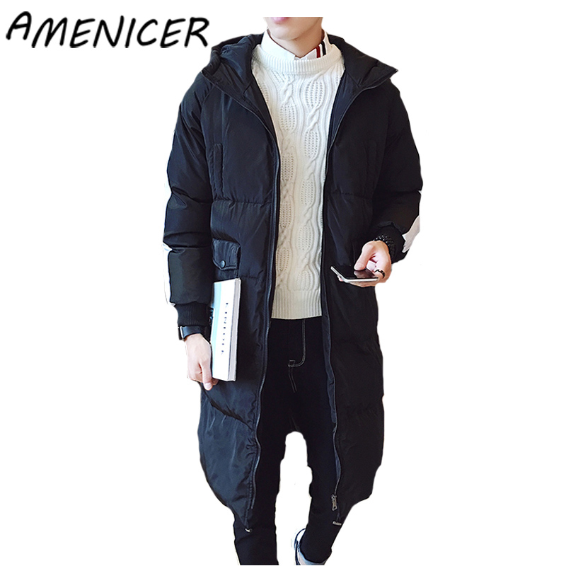 2017 Mens Down Jackets Long Warm Winter Coat Zipper Male Hood Jackets Military Long Parka Coats Autumn-Winter Brand-Clothing
