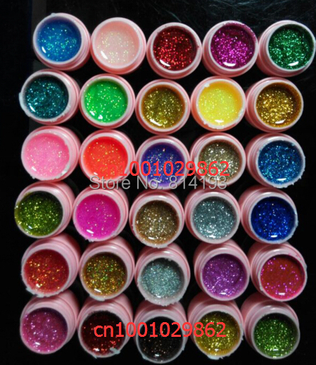 new 30 Color Glitter UV Gel Builder False Tips Acrylic Nail Art Polish Kit Set pink pot 2018