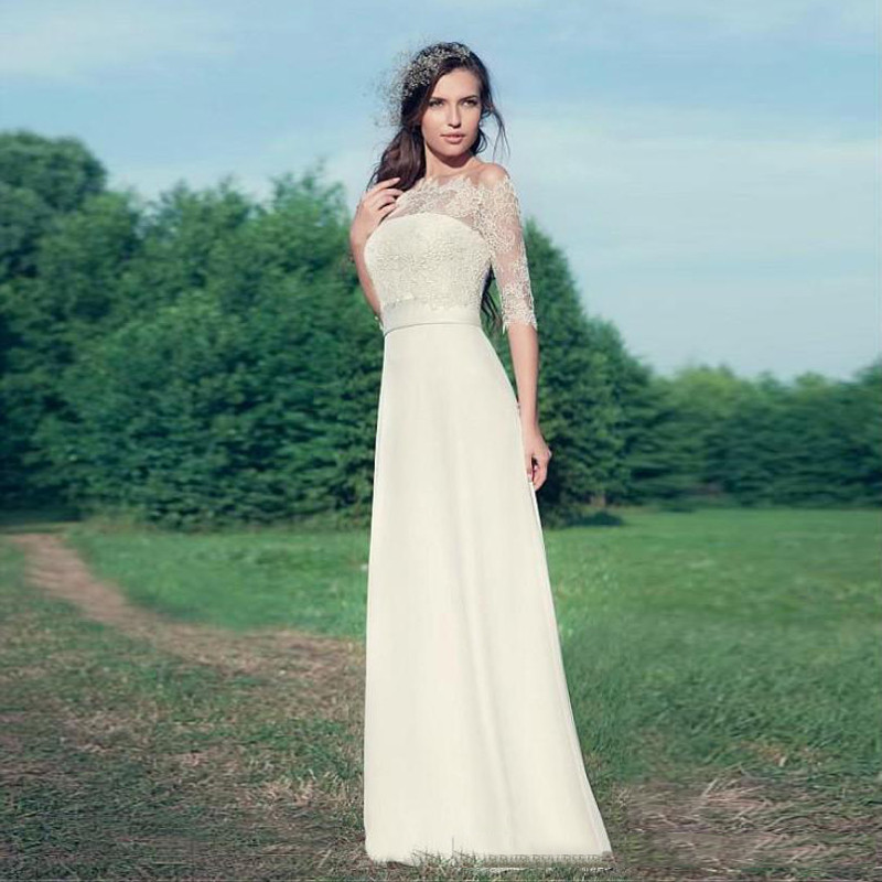 Simple Wedding Dresses With Sleeves: Simple Elegant Country Style Wedding Dresses With Lace