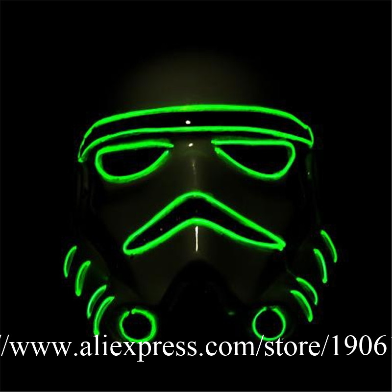 10 Designs Colorful EL Wire Luminous Party DJ Mask Led Illuminate Flashing Halloween Masquerade Death Masks 5 Pcs/Lot