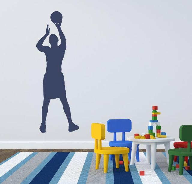 New Design Sports Silhouette Wall Decals Kids Basketball Jumpshot Wall Stickers Sport Boys Bedroom Removable Wall  sc 1 st  AliExpress.com & New Design Sports Silhouette Wall Decals Kids Basketball Jumpshot ...