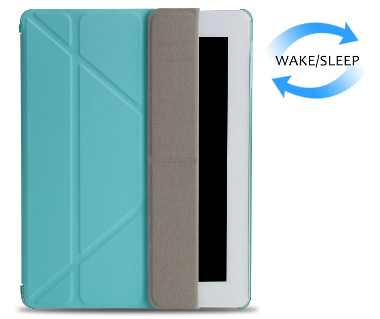 Multi-folded Tablets Case For iPad 234 Smart Protective Cover PU+PC Connection Translucent PC Hard Tablet Case For iPad 4 Case-1