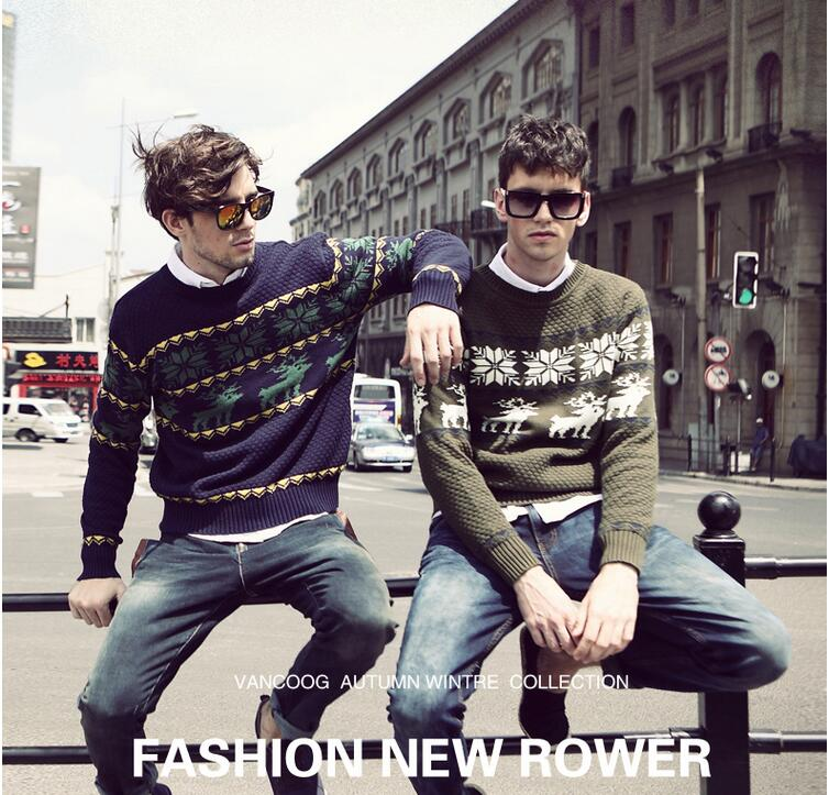 Fashion England Style New Autumn Warm Casual Sweater O-Neck Deer Pattern Slim Fit Knitting Mens Sweaters And Pullovers Men M-XXL