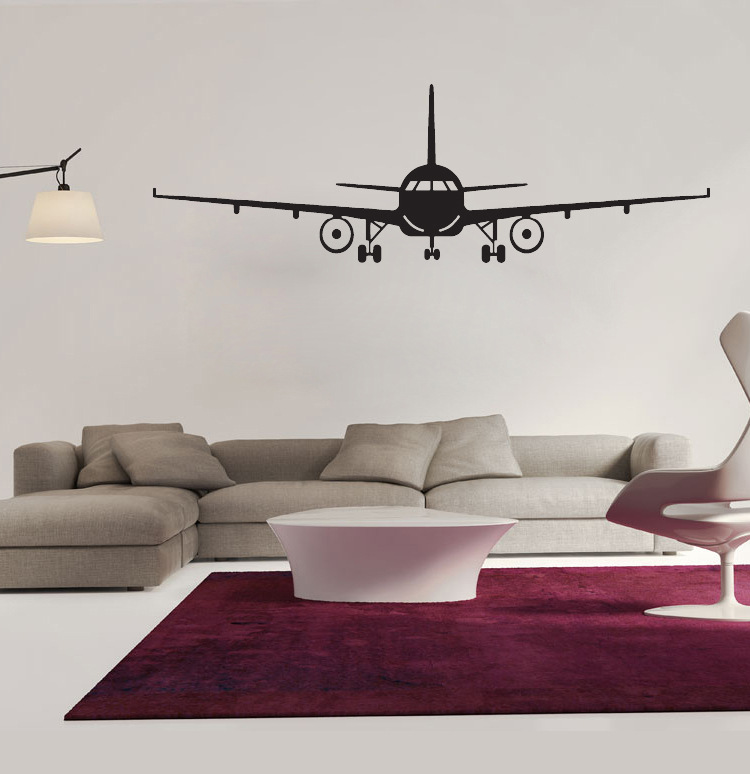 black airplane wall art mural decor sticker boys kids room wallpaper decal poster transfer wall graphic
