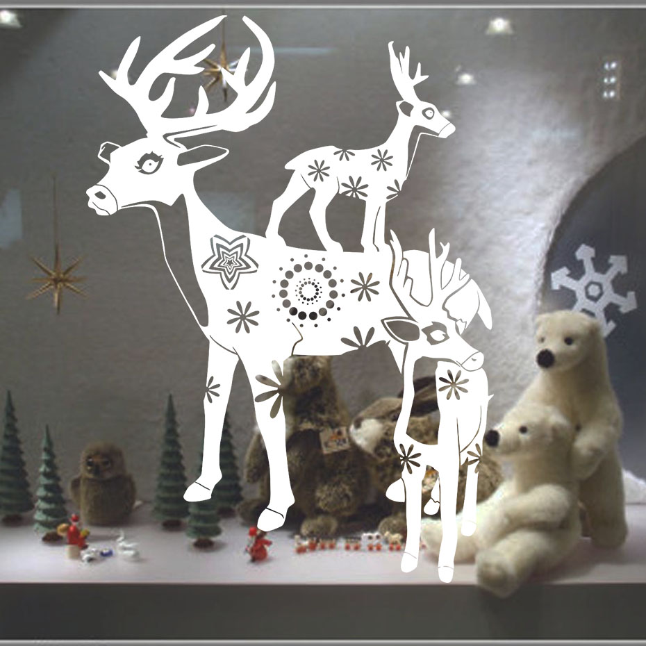 New Christmas Home Decoration Deers Wall Stickers <font><b>For</b></font> Kids Room Wall Decor Removable Xmas Poster <font><b>Decal</b></font> Christmas Decoration
